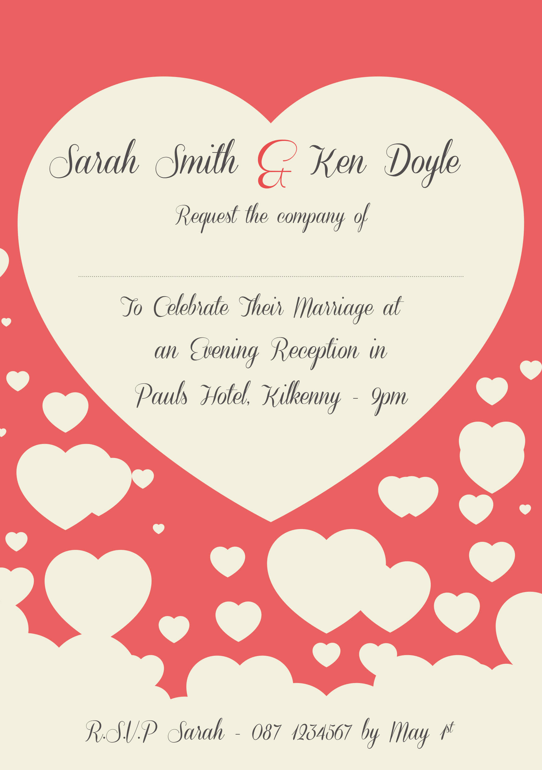 Personalised Wedding Invitations, Evening Invites, RSVP, Sate the ...