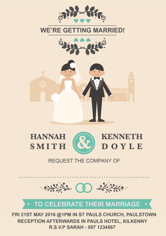 Personalised Wedding Invitations, Evening Invites, RSVP, Sate the ...